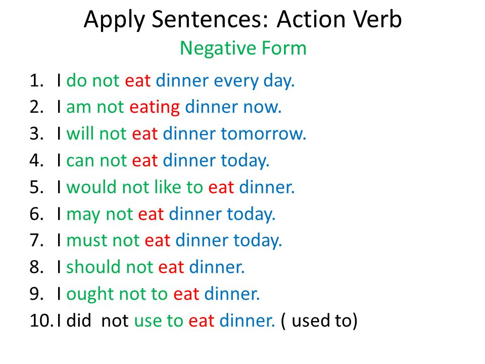 Apply Sentences: Action Verb Negative Form