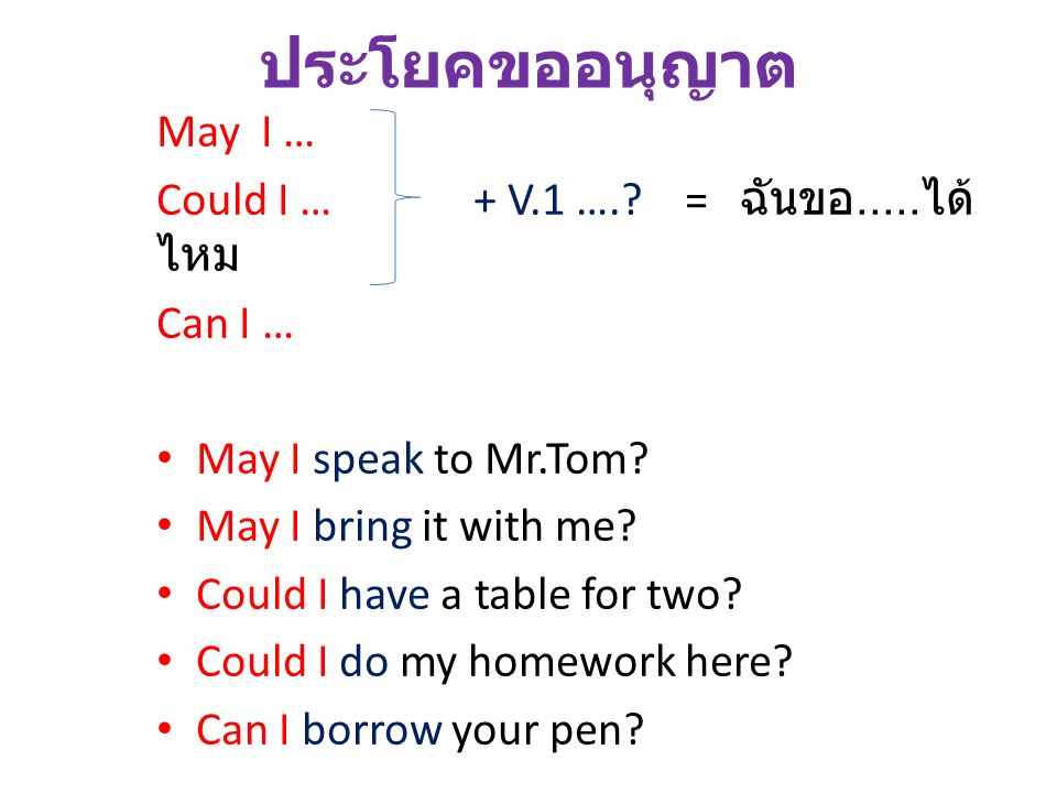 ประโยคขออนุญาต May I … Could I … + V.1 …. = ฉันขอ.....ได้ไหม Can I …