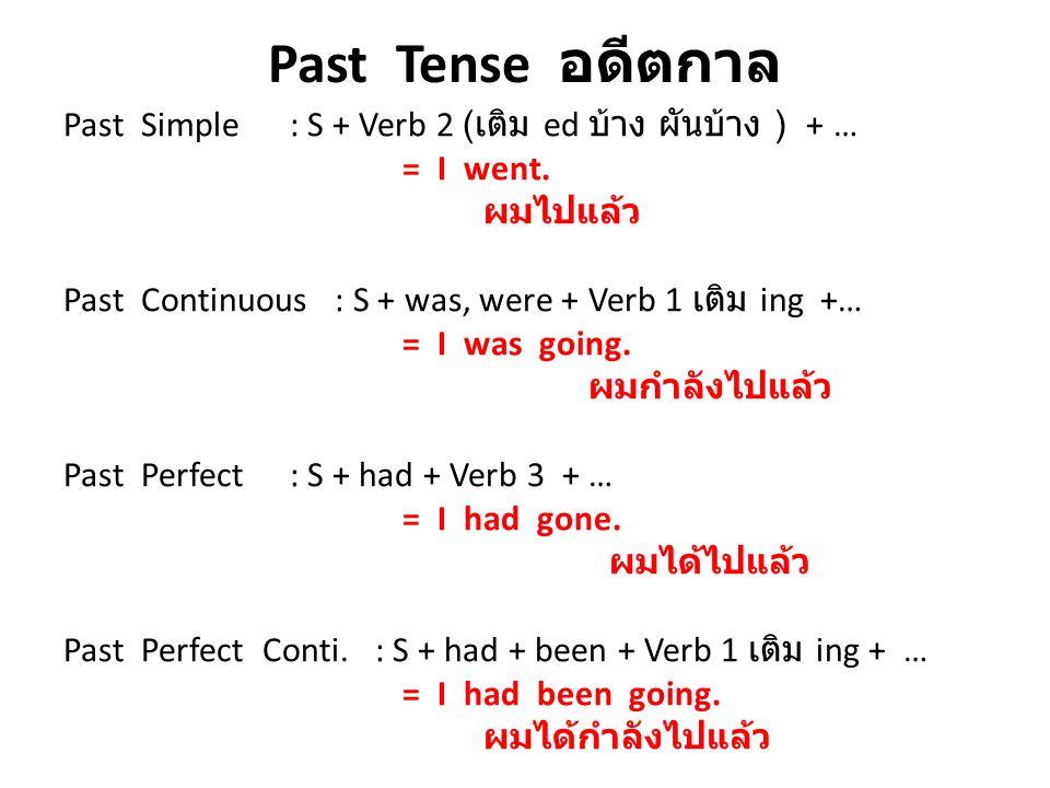Past Tense อดีตกาล Past Simple : S + Verb 2 (เติม ed บ้าง ผันบ้าง ) + … = I went. ผมไปแล้ว.