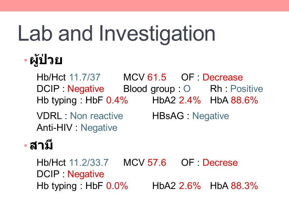 Lab and Investigation ผู้ป่วย สามี