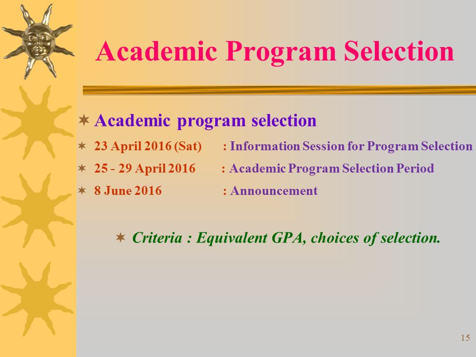 Academic Program Selection