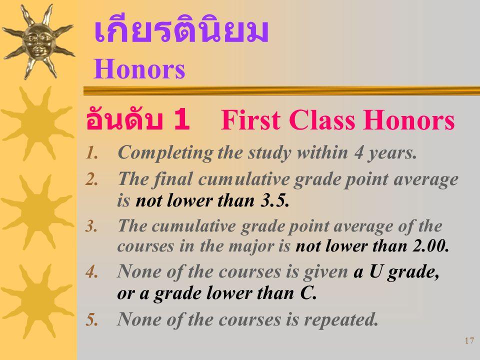 เกียรตินิยม Honors อันดับ 1 First Class Honors