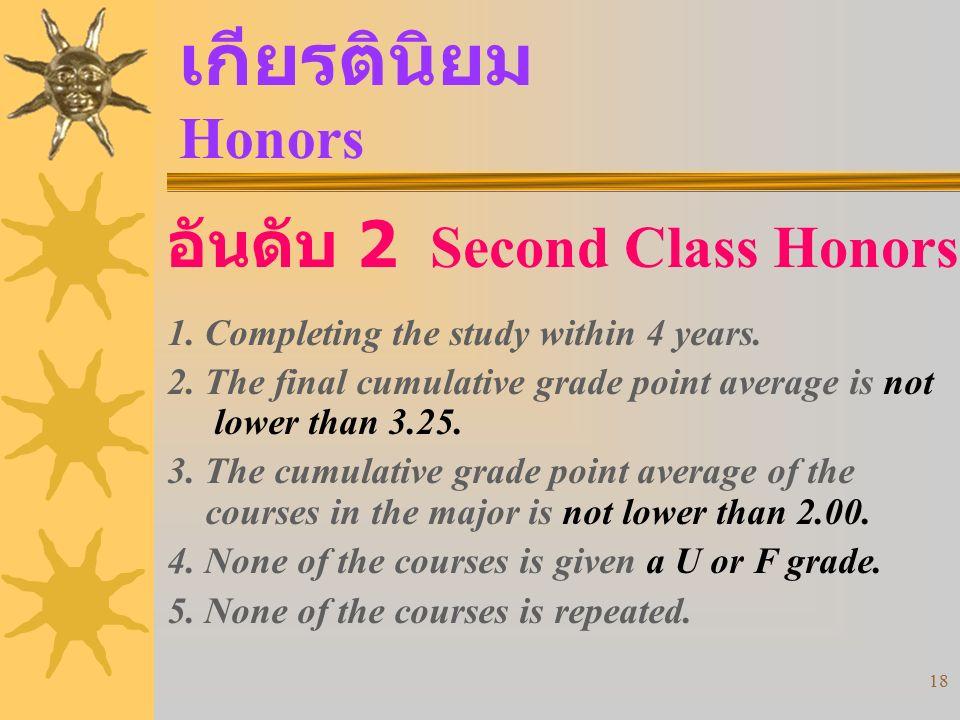 เกียรตินิยม Honors อันดับ 2 Second Class Honors