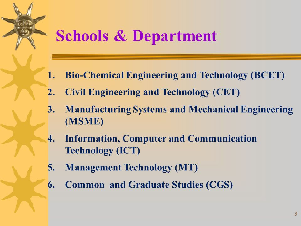 Schools & Department Bio-Chemical Engineering and Technology (BCET)