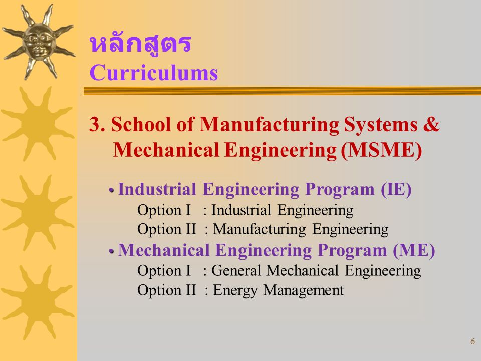 หลักสูตร Curriculums 3. School of Manufacturing Systems & Mechanical Engineering (MSME) Industrial Engineering Program (IE)