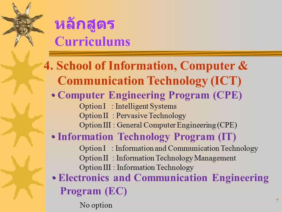 หลักสูตร Curriculums 4. School of Information, Computer & Communication Technology (ICT) Computer Engineering Program (CPE)