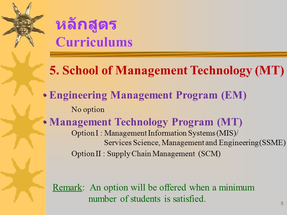 หลักสูตร Curriculums 5. School of Management Technology (MT)