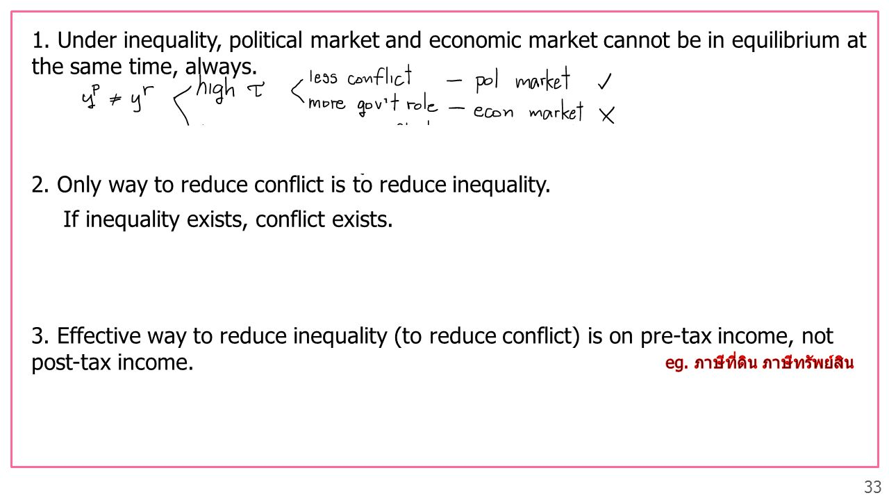 2. Only way to reduce conflict is to reduce inequality.