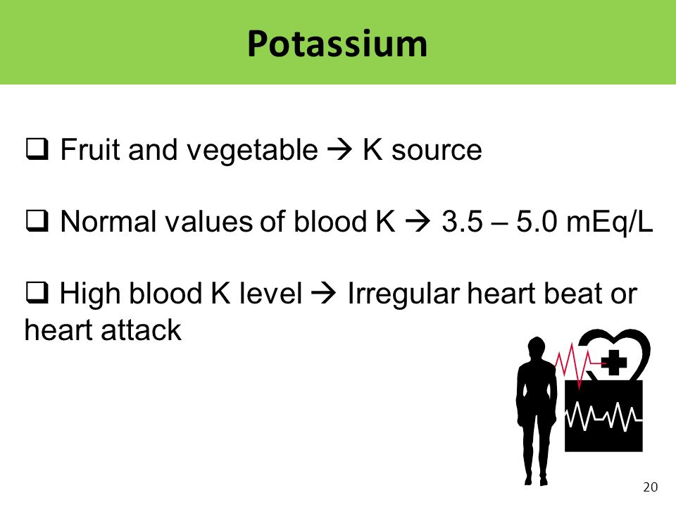 Potassium Fruit and vegetable  K source
