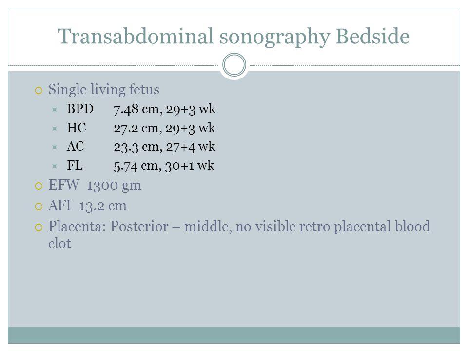Transabdominal sonography Bedside