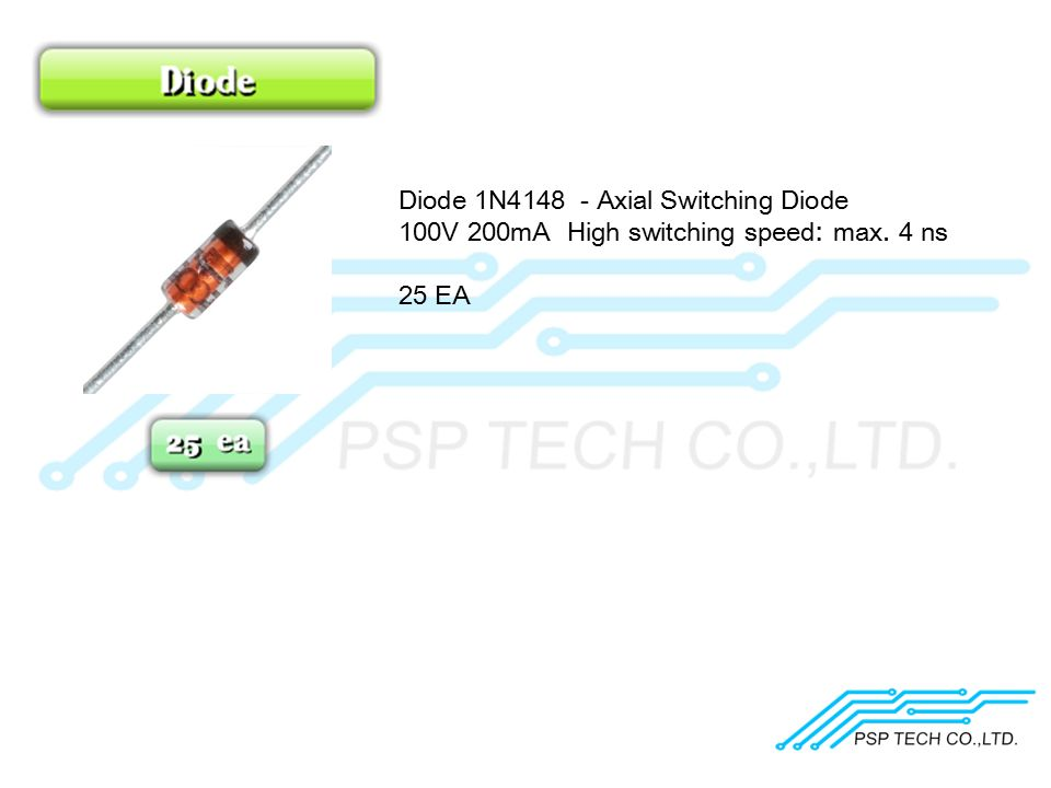 Diode 1N4148 - Axial Switching Diode 100V 200mA High switching speed: max. 4 ns