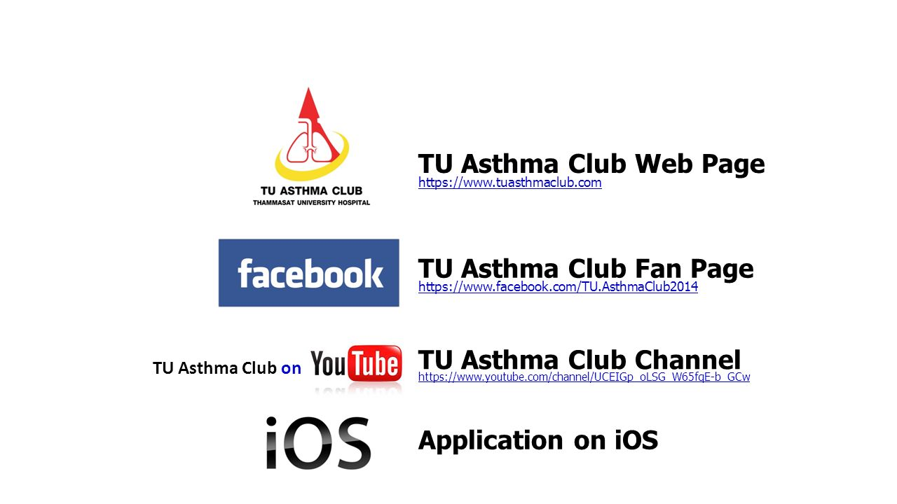 TU Asthma Club Web Page TU Asthma Club Fan Page TU Asthma Club Channel