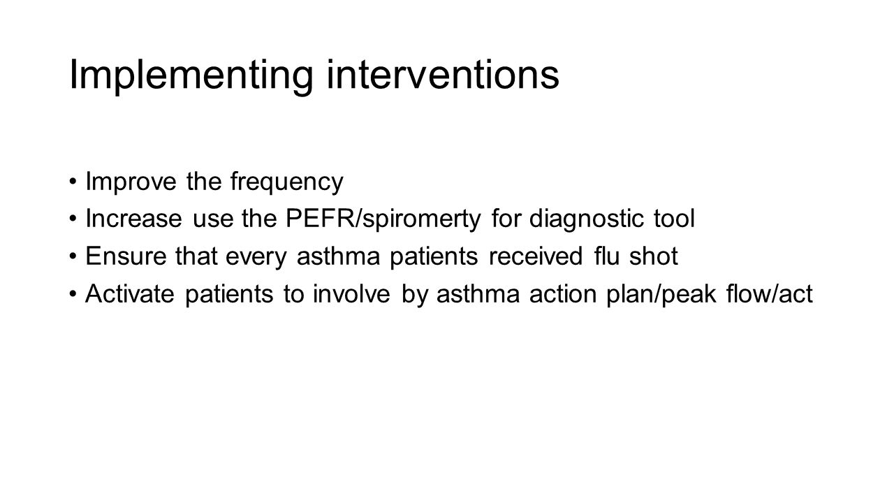 Implementing interventions