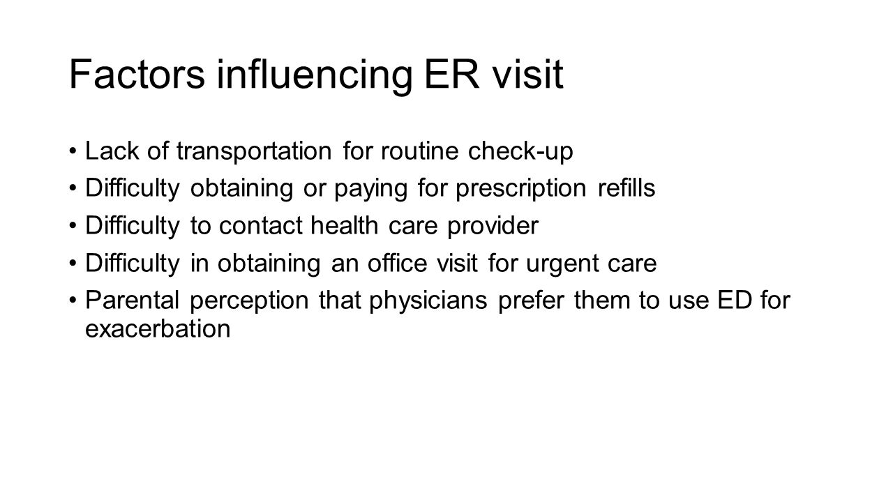 Factors influencing ER visit
