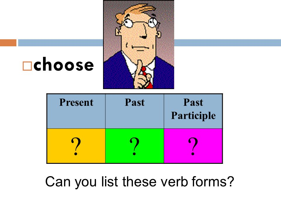 choose Present Past Past Participle Can you list these verb forms