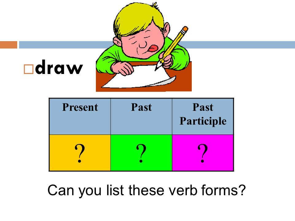 draw Present Past Past Participle Can you list these verb forms