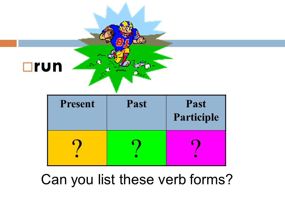 run Present Past Past Participle Can you list these verb forms