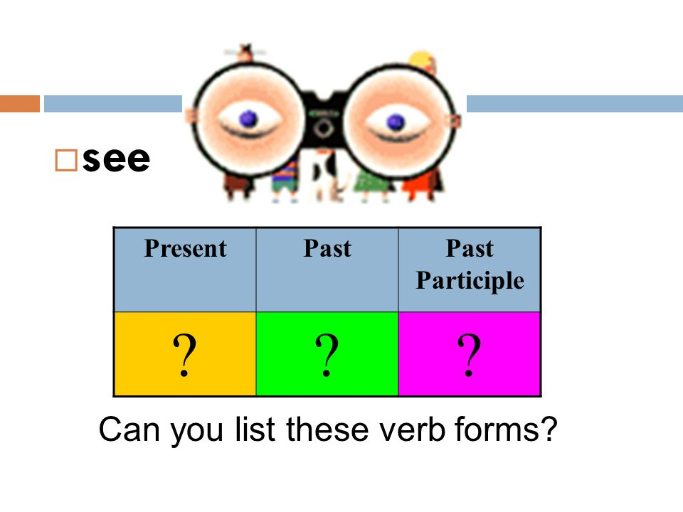 see Present Past Past Participle Can you list these verb forms