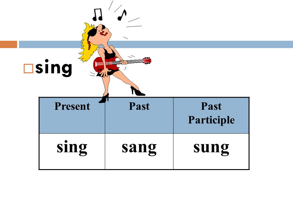 sing Present Past Past Participle sing sang sung