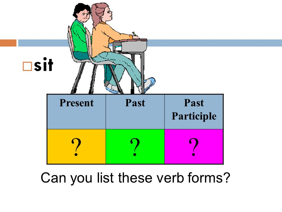 sit Present Past Past Participle Can you list these verb forms