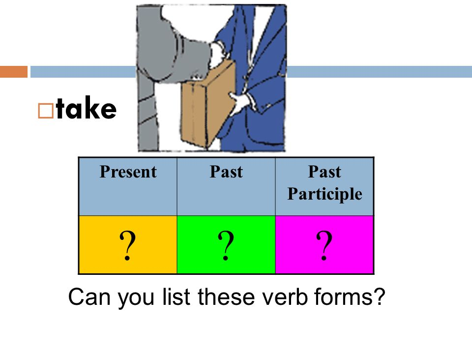 take Present Past Past Participle Can you list these verb forms