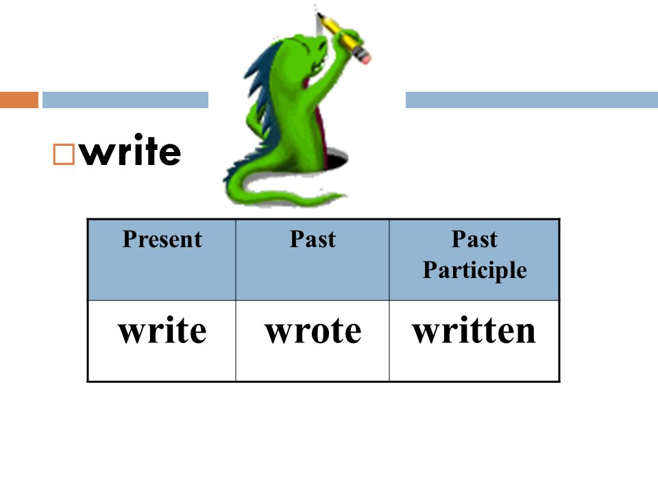 write Present Past Past Participle write wrote written