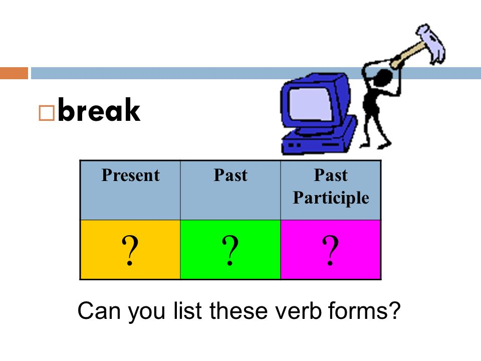 break Present Past Past Participle Can you list these verb forms