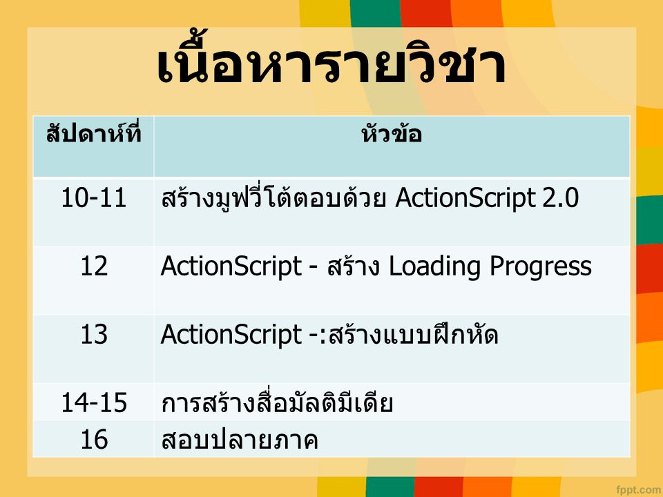 เนื้อหารายวิชา 10-11 สร้างมูฟวี่โต้ตอบด้วย ActionScript 2.0 12