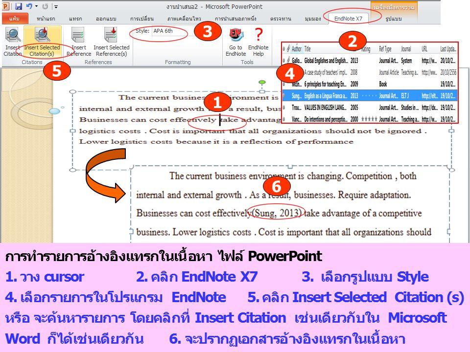 3 2 5 4 1 6 การทำรายการอ้างอิงแทรกในเนื้อหา ไฟล์ PowerPoint