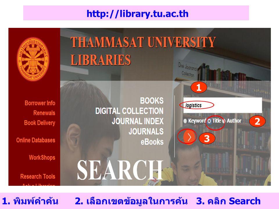 http://library.tu.ac.th 1 2 3 1. พิมพ์คำค้น 2. เลือกเขตข้อมูลในการค้น 3. คลิก Search