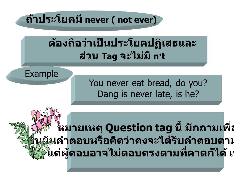 ถ้าประโยคมี never ( not ever)