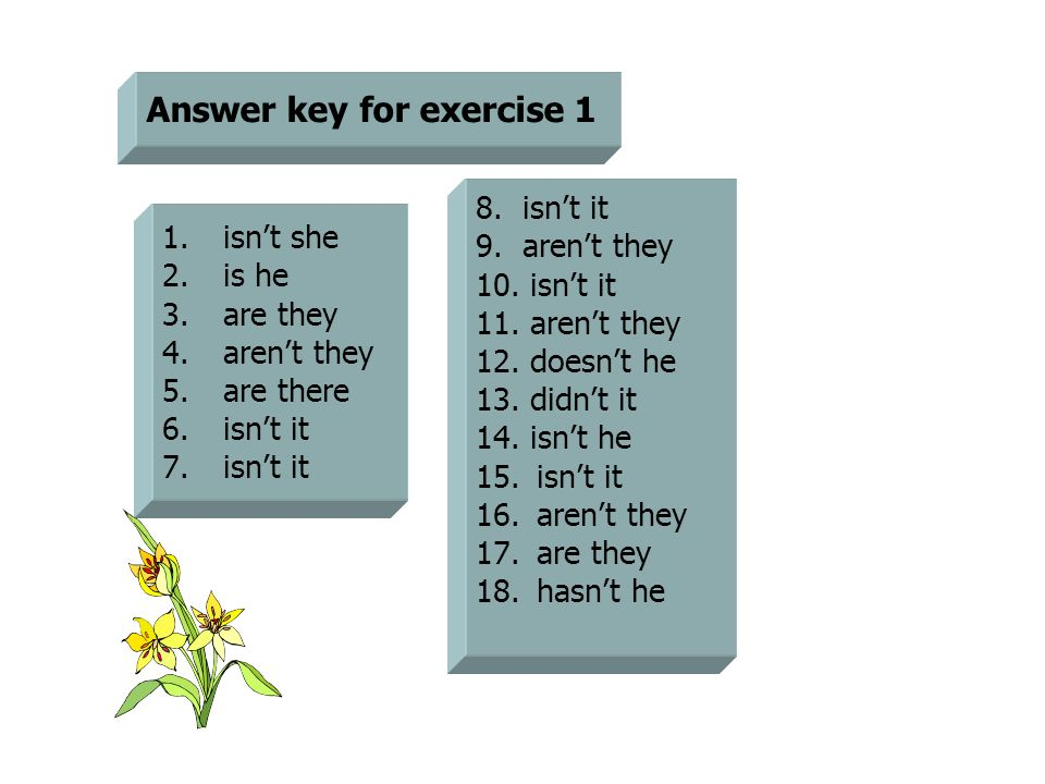 Answer key for exercise 1