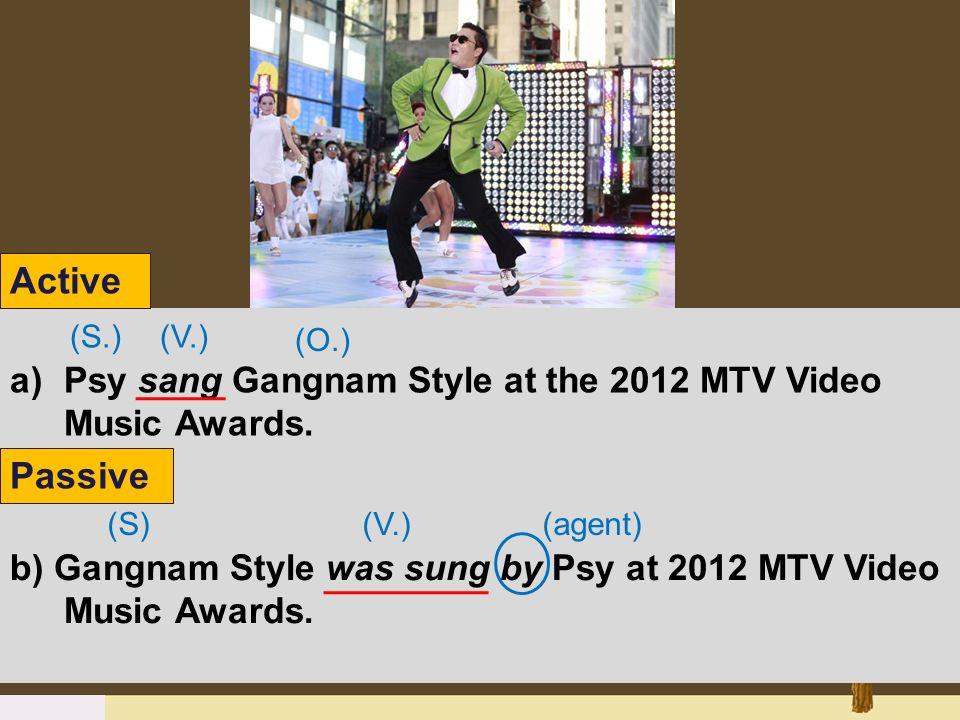 Active Psy sang Gangnam Style at the 2012 MTV Video Music Awards. (S.) (V.) (O.) Passive.