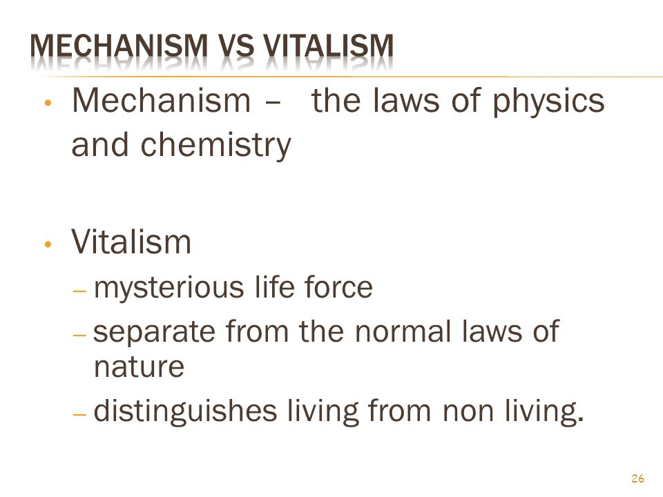 Mechanism – the laws of physics and chemistry