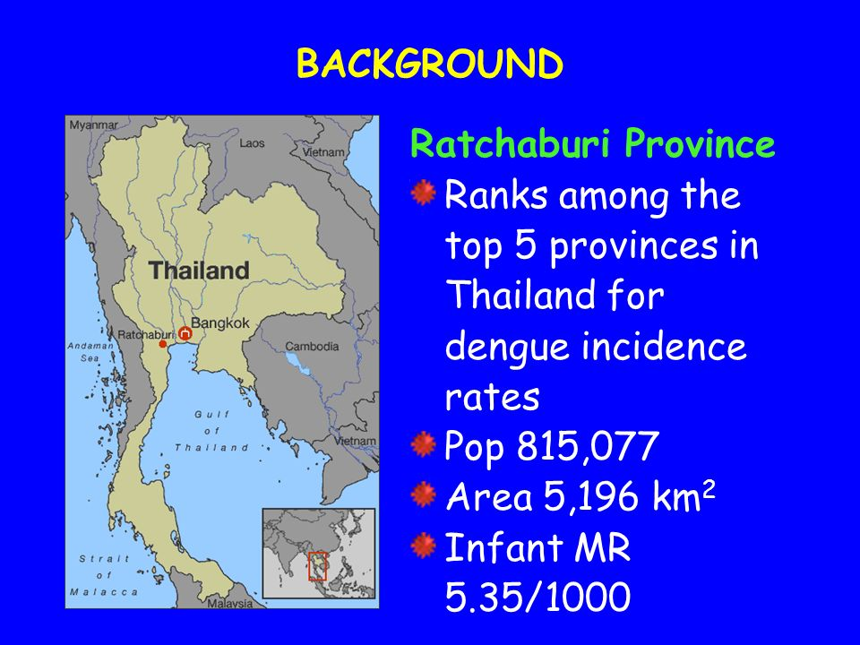 BACKGROUND Ratchaburi Province. Ranks among the top 5 provinces in Thailand for dengue incidence rates.
