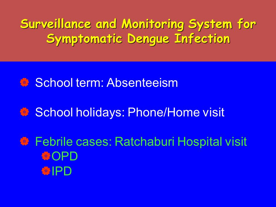 Surveillance and Monitoring System for Symptomatic Dengue Infection