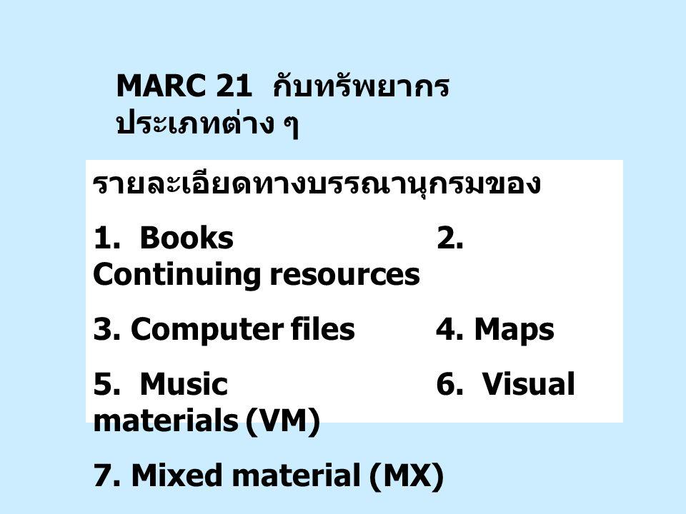 MARC 21 กับทรัพยากรประเภทต่าง ๆ