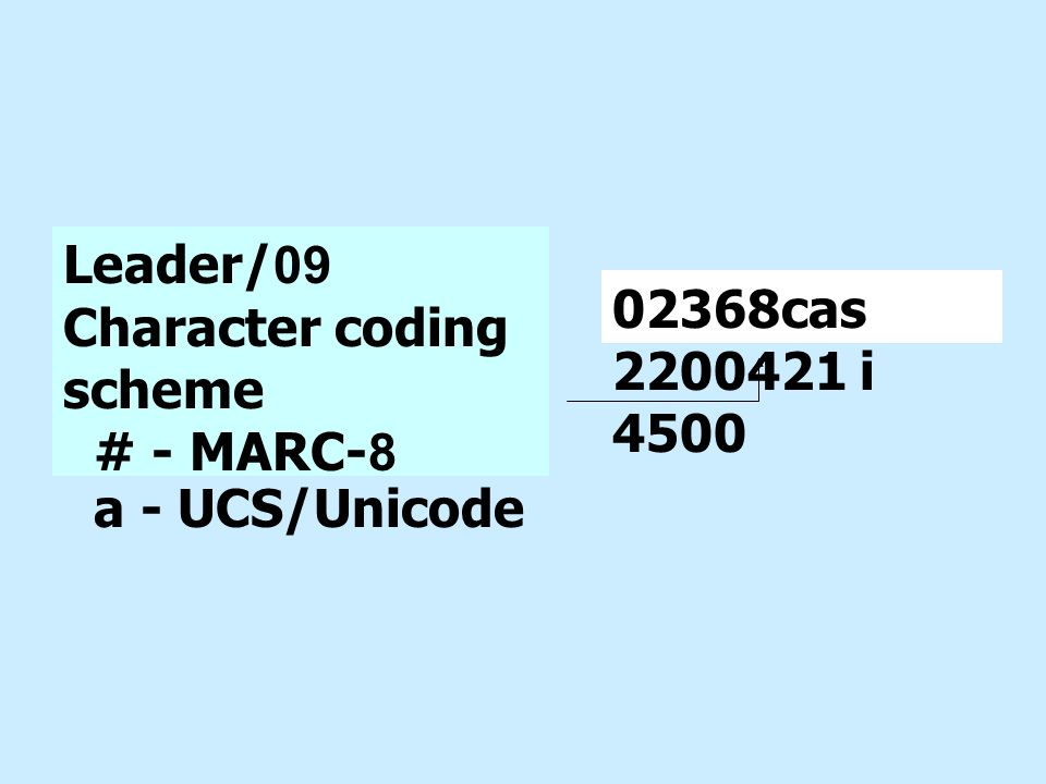 Leader/09 Character coding scheme