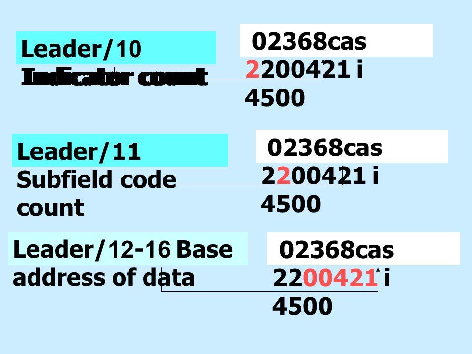 02368cas 2200421 i 4500 Leader/10 Indicator count. Leader/10 Indicator count. Leader/10 Indicator count.