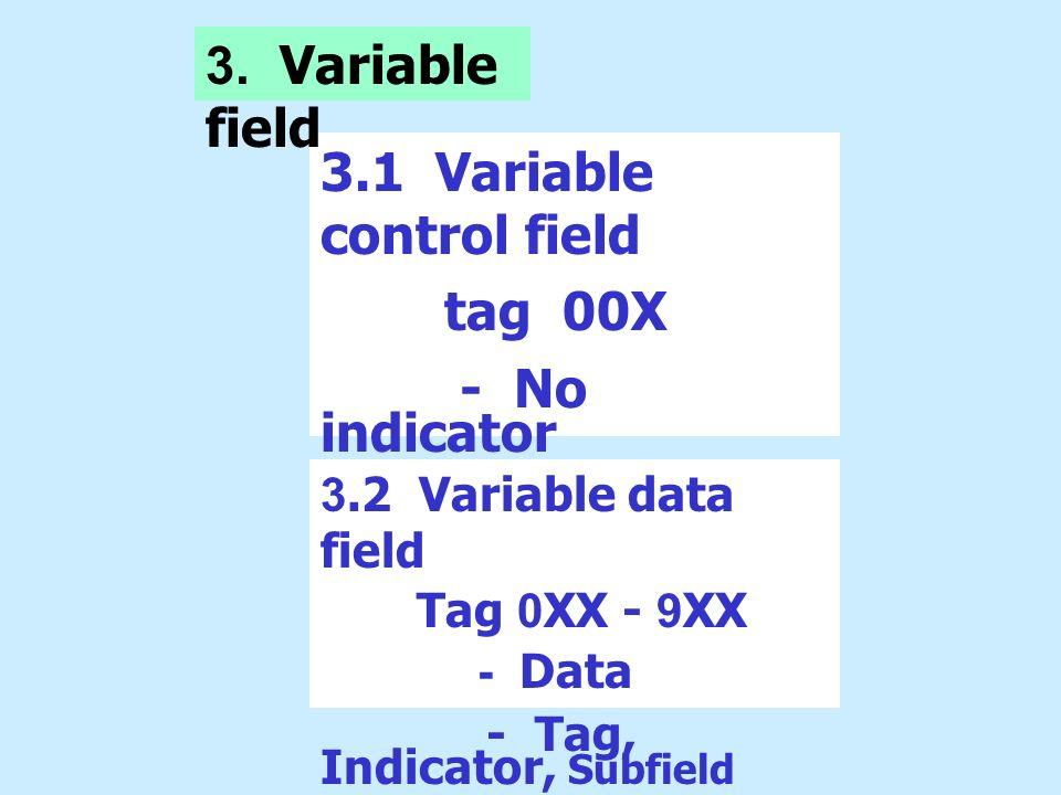 3.1 Variable control field tag 00X - No indicator - No subfield