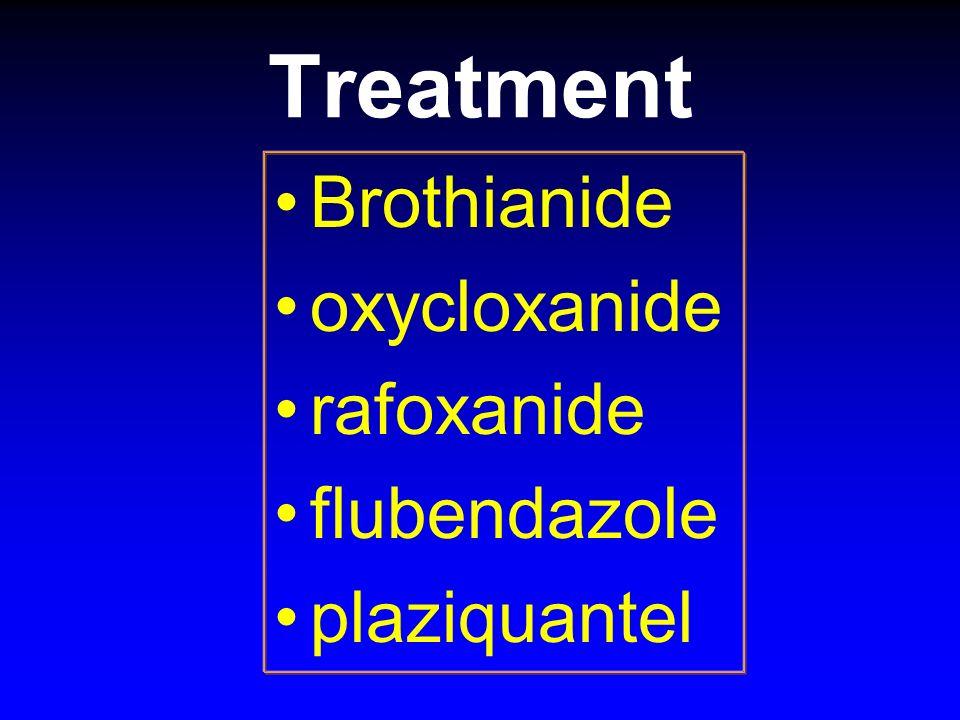Treatment Brothianide oxycloxanide rafoxanide flubendazole