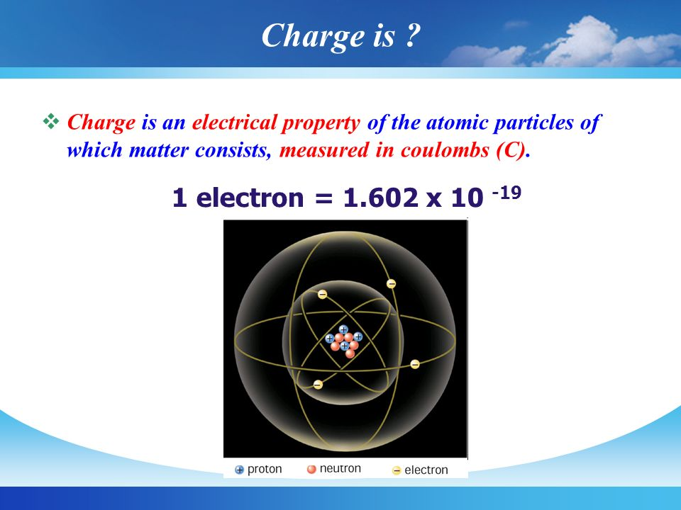 Charge is 1 electron = 1.602 x 10 -19 Coulombs