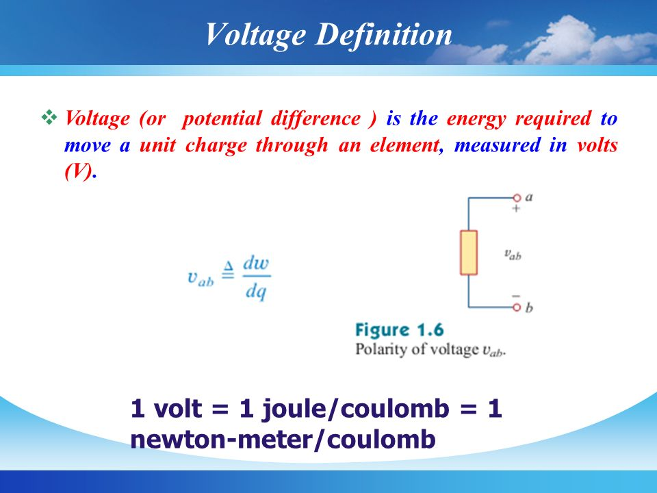 Voltage Definition 1 volt = 1 joule/coulomb = 1 newton-meter/coulomb