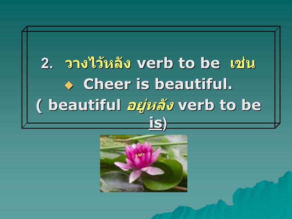 2. วางไว้หลัง verb to be เช่น ( beautiful อยู่หลัง verb to be is)