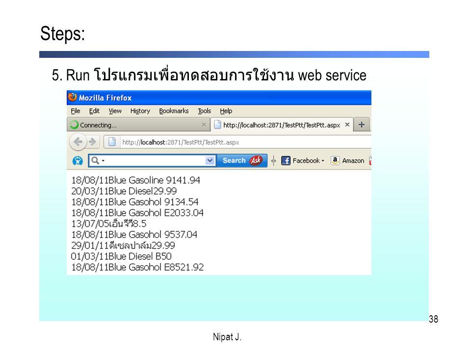 Steps: 5. Run โปรแกรมเพื่อทดสอบการใช้งาน web service Nipat J. Nipat J.