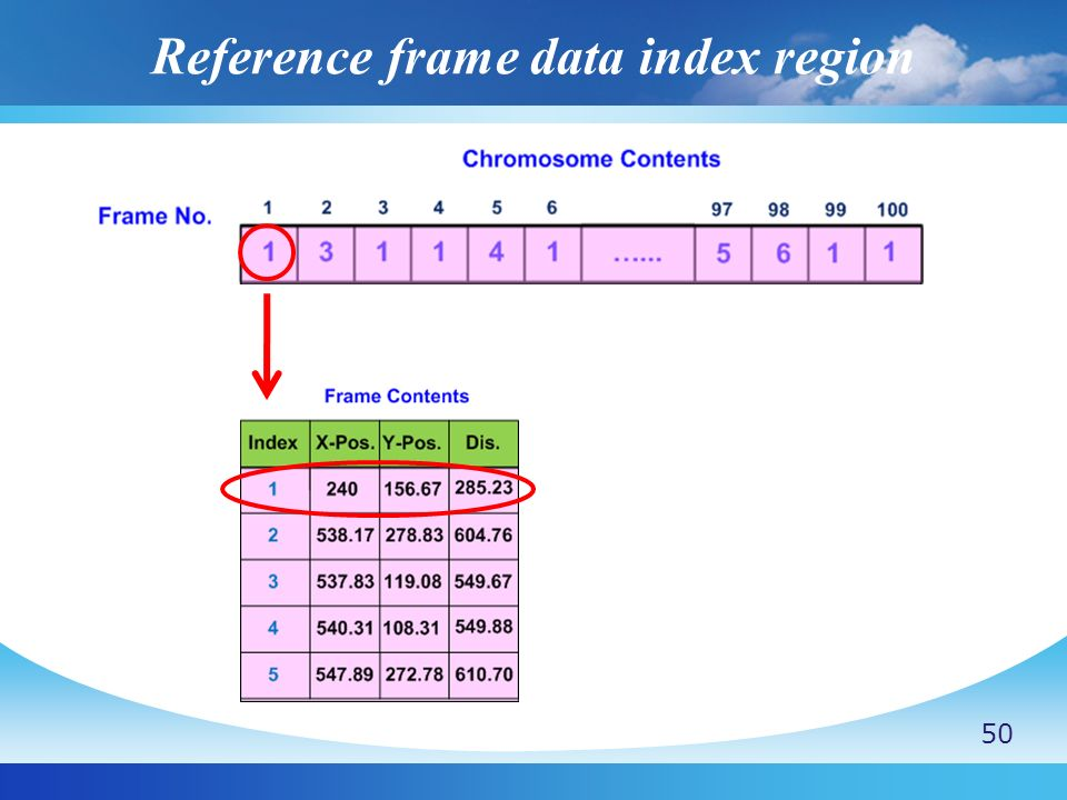 Reference frame data index region
