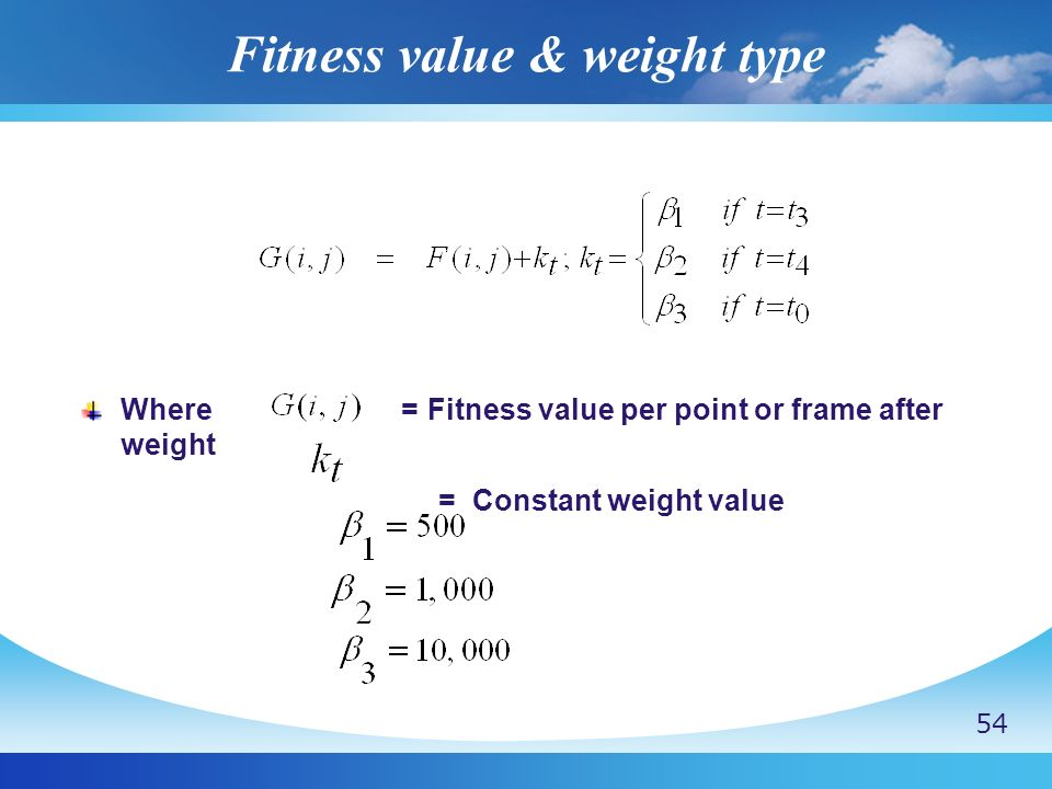 Fitness value & weight type