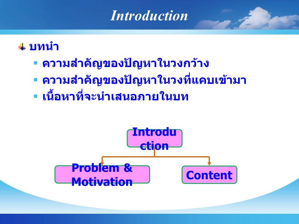 Introduction บทนำ ความสำคัญของปัญหาในวงกว้าง
