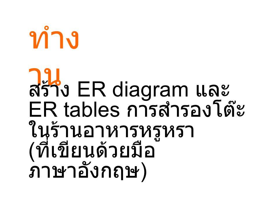 ทำงาน สร้าง ER diagram และ ER tables การสำรองโต๊ะ ในร้านอาหารหรูหรา