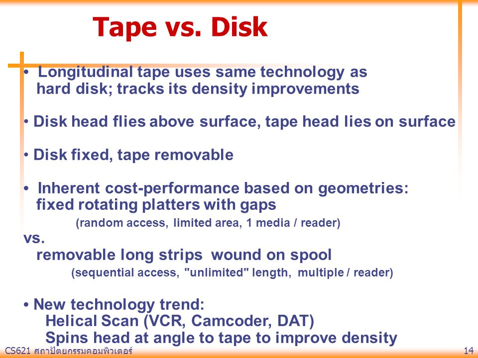 Tape vs. Disk • Longitudinal tape uses same technology as